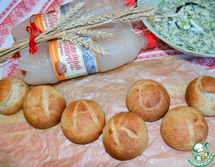 Рецепт: Колобки ржано-пшеничные на квасе