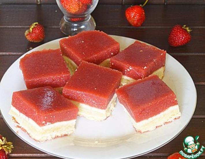 Рецепт: Печенье Клубничные квадратики