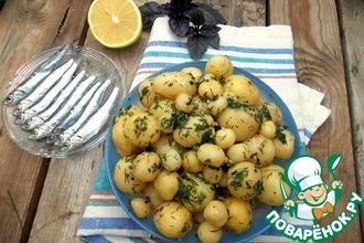 Рецепт: Молодой картофель с лимонно-зеленым маслом