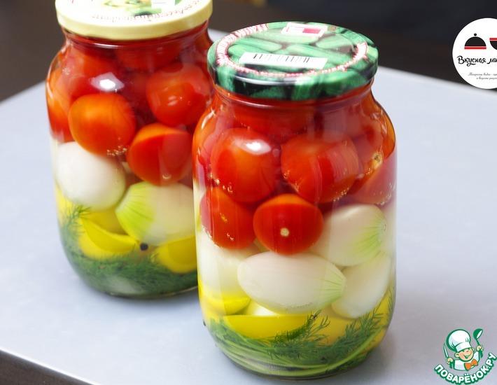 Рецепт: Маринованные помидоры черри с луком
