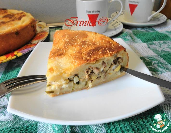 Рецепт: Пирог Весенний с сайрой, яйцами и луком