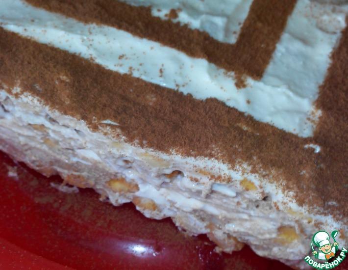 Рецепт: Шоколадно-ванильный торт с творожно-зефирным кремом