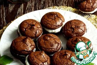 Рецепт: Печенье Брауни с творожной прослойкой