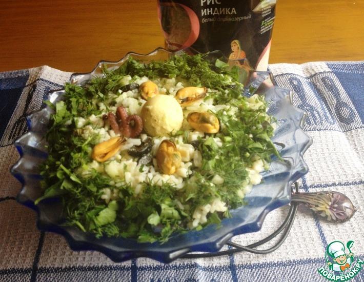 Рецепт: Рисовый салат с морепродуктами