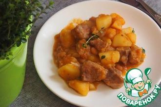 Рецепт: Картофельный гуляш со свининой и фасолью