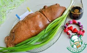 Выпекать пирог при 180 градусах 50-60 минут, ориентируйтесь на свою духовку.   Горячим пирог смазать топленым маслом.    Накрыть фольгой и полотенцем.    Дать постоять пирогу 20 минут.