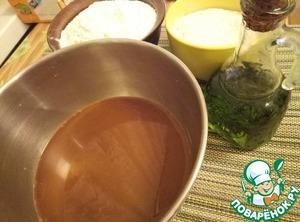 In a bowl mix water, milk, yeast, salt, sugar, vegetable oil, liquid malt.