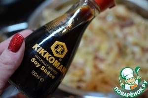 Add the soy sauce. I use naturally brewed soy sauce TM Cccamp.
