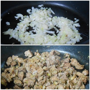 Prepare the stuffing.  Peel and chop the onion.  Chicken liver wash, dry, remove the bile ducts (if any), cut into small pieces.  Fry the onion in vegetable oil until soft, add the chopped liver.