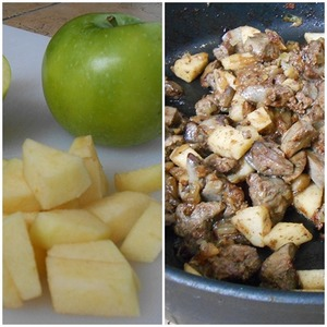 Apple remove seeds and peel, cut into small pieces, add to the pan just a minute until cooked liver, mix well. After a minute remove from heat, leave the stuffing to cool. I was cool under the hood.