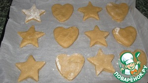 Staley on a baking sheet with parchment paper and lay out our future cookies ( I got 20 pieces on 2 baking sheet) and put it into the preheated oven to 180C for 15-20 minutes