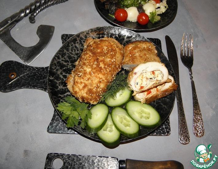 Рецепт: Куриные рулеты с омлетом