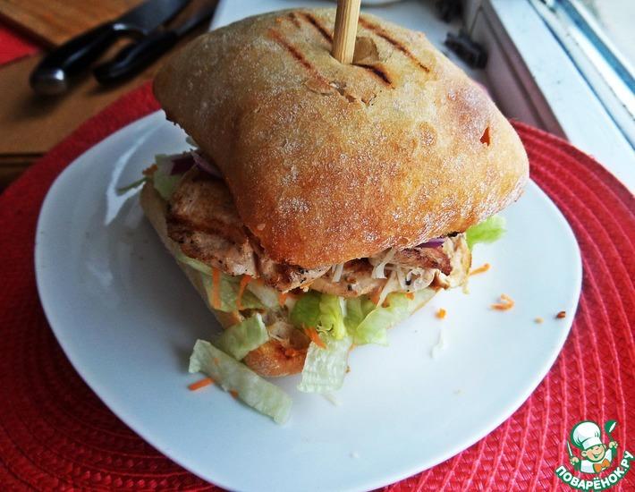 Рецепт: Двойной чикен-бургер на чиабатте