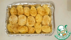 Cut the potatoes into slices, put on top of onions, season with salt and pepper)  Leave aside)