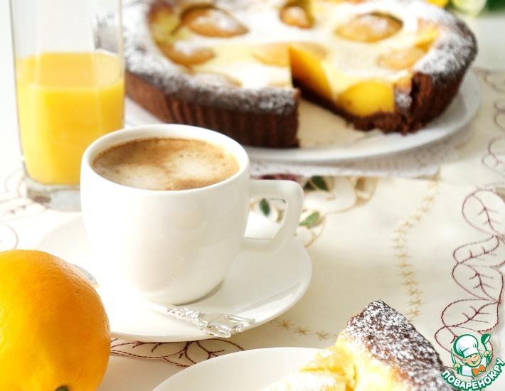 Рецепт: Шоколадный тарт с персиками