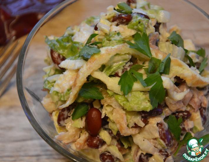 Рецепт: Салат с фасолью и пекинской капустой