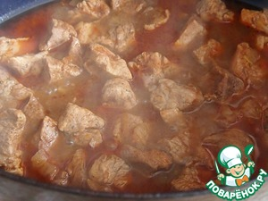 As the liquid evaporates, add water. Simmer until almost cooked meat.