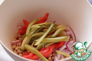 Pickles cut into strips, add to salad.
