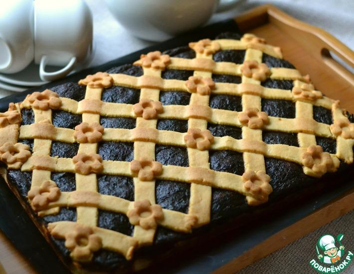 Рецепт: Пирог с творогом и сливовым повидлом