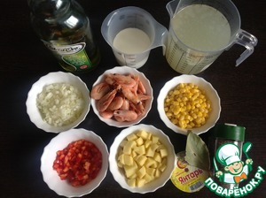 Peel the onion and finely chop. Kartofel wash and cut into cubes. Pepper wash, remove seeds and finely chop. With corn drain the fluid. Shrimp to peel.