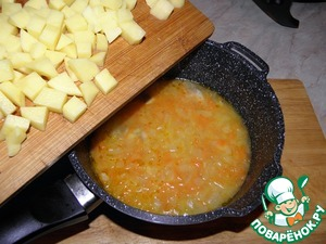 Peel the potatoes, chop, add to the soup