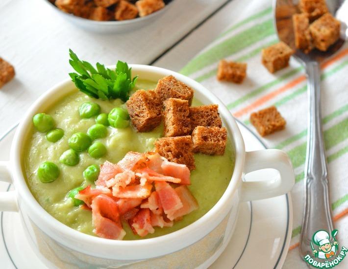 Рецепт: Сливочно-чесночный суп из гороха