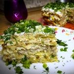 Картофельный торт с грибами и сыром