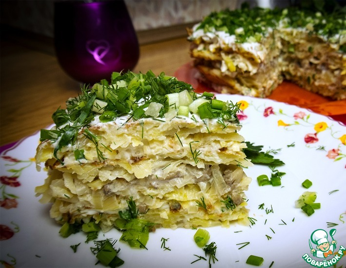Рецепт: Картофельный торт с грибами и сыром