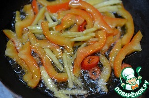 Lightly fry Chile with oil, then add the pepper and ginger. Fry.