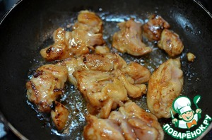 Put in separate bowl. In the same pan fry the chicken portions until Golden brown. Then put in separate bowl.