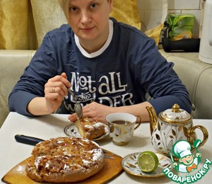 Was just about to enjoy some pie and tea, as the husband came and streckel half. He never realized that she was lean.