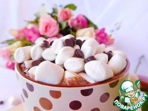 Добавляем маршмеллоу и шоколадные капли и наслаждаемся)))