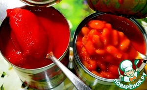 Prepared jars with red beans  in tomato sauce and tomatoes in juice.