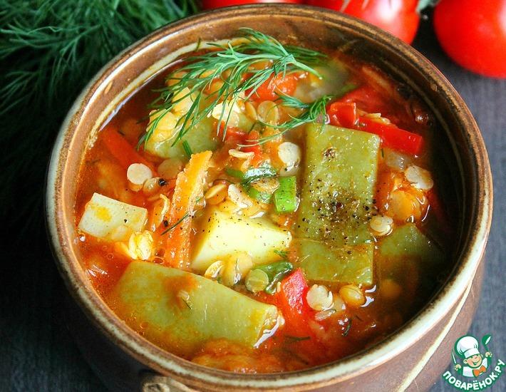 Рецепт: Чечевичный суп с плоской стручковой фасолью