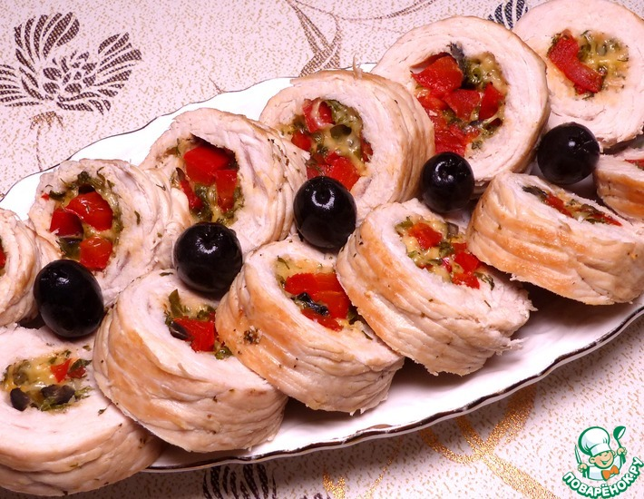 Рецепт: Рулетики из филе индейки