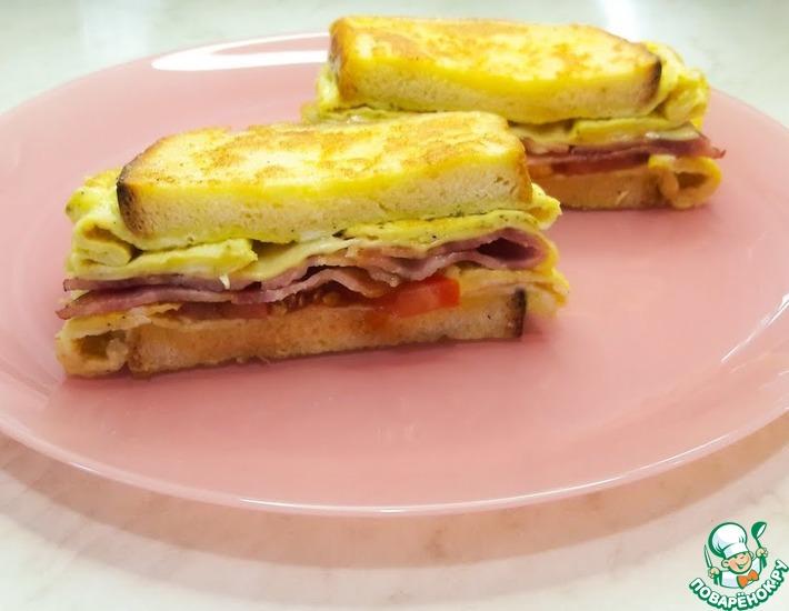 Рецепт: Горячий сэндвич на сковороде с яйцом