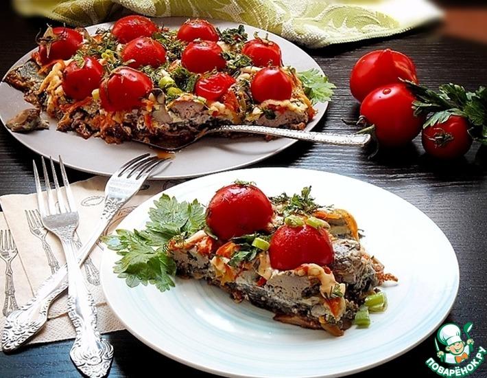 Рецепт: Печень запеченная с овощами в сковороде