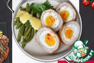 Рецепт: Яйца по-шотландски под соусом голландез
