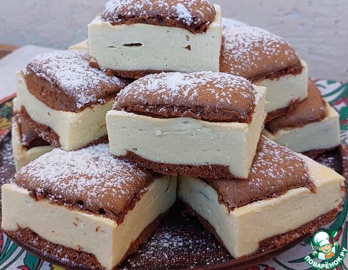 Рецепт: Шоколадно-творожный пирог Подушечки