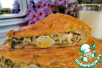 Рецепт: Пирог со шпинатом, сыром и перепелиными яйцами