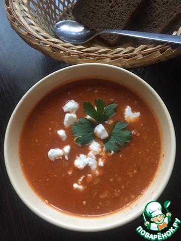 Суп из запеченных баклажанов с булгуром