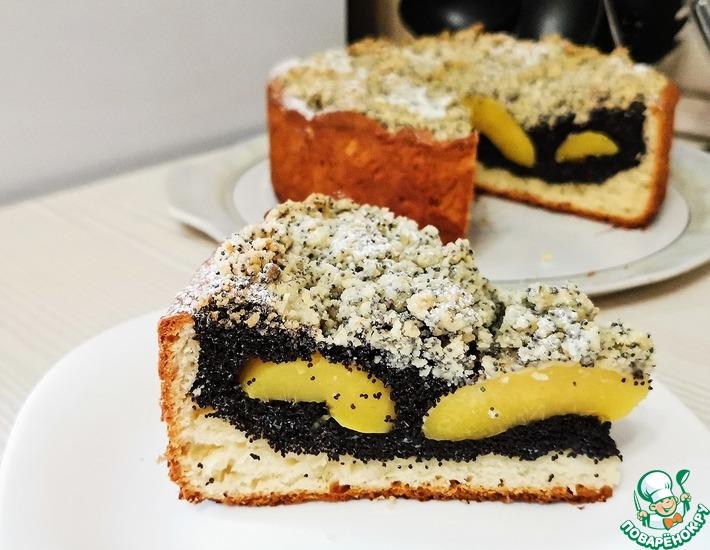 Рецепт: Творожный пирог с персиками и маком